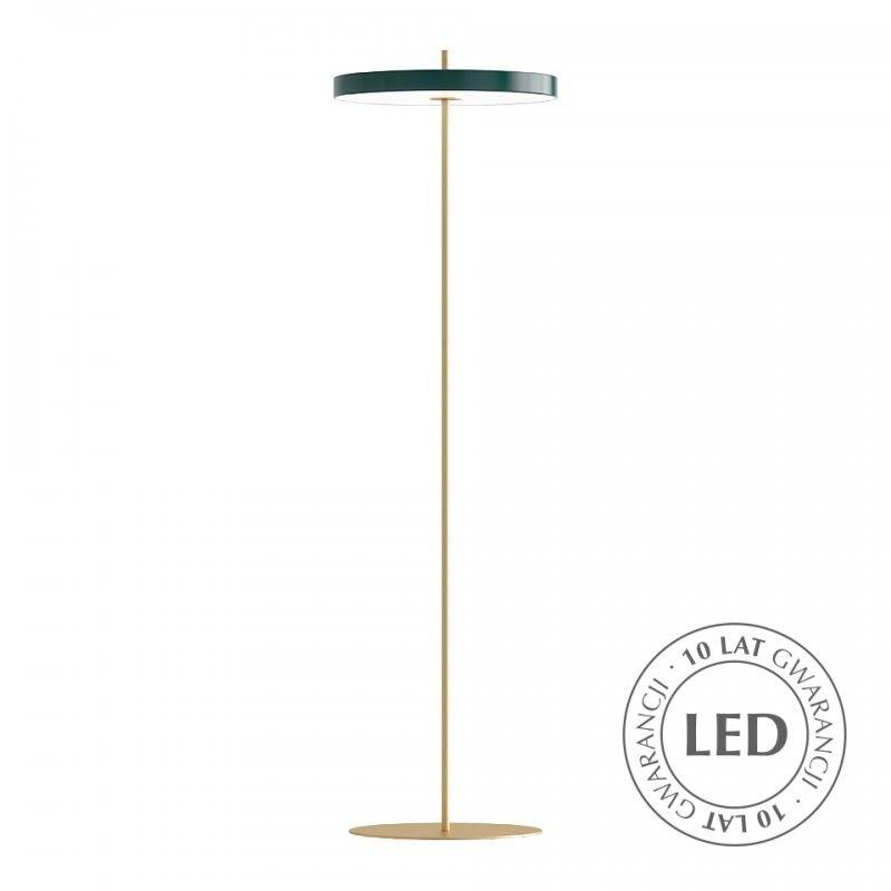 złota lampa podłogowa zielony klosz