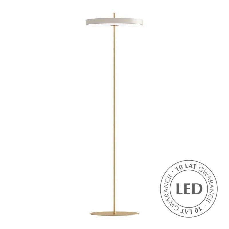 Lampa podłogowa Asteria - perłowa biel, ściemniacz