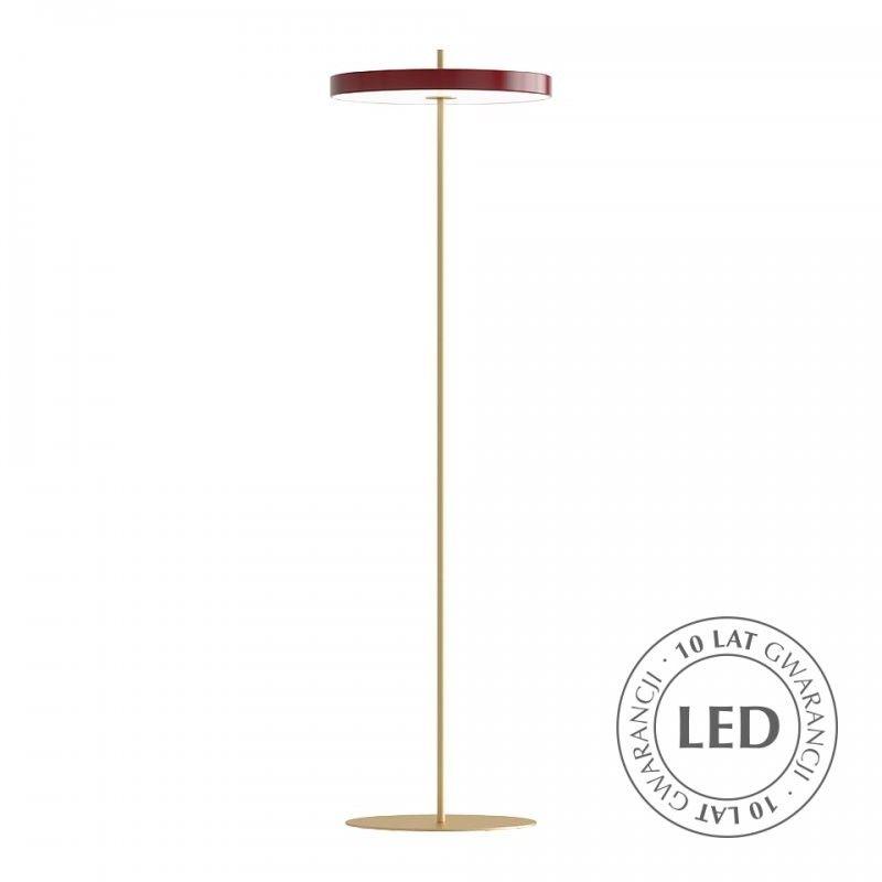 złota lampa podłogowa czerwony klosz led