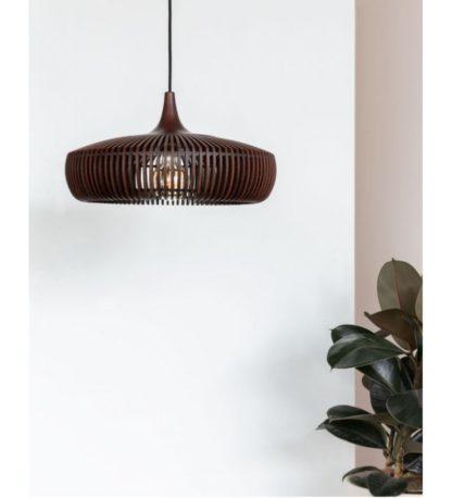 drewniana lampa wisząca ażurowy klosz