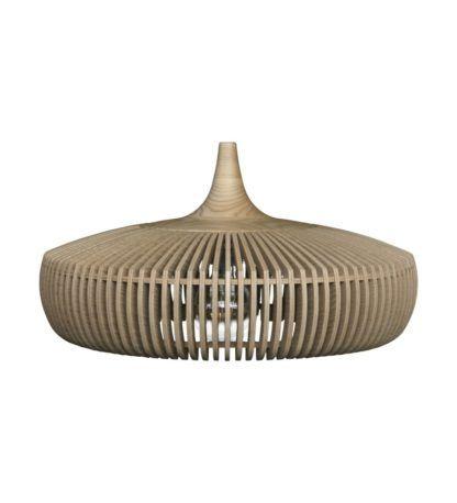 szeroka lampa wisząca drewniany klosz