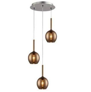 Okrągła lampa wisząca Monic - 3 klosze, miedź