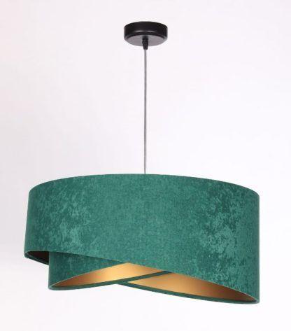 zielono-złota welurowa lampa wisząca
