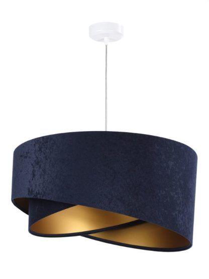 granatowo-złota lampa wisząca welurowa