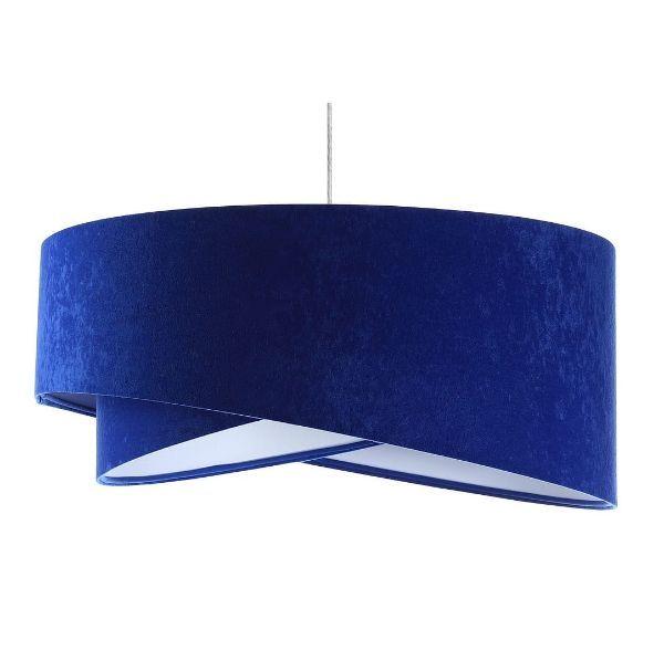 Kobaltowa lampa wisząca Galaxy - welurowy abażur