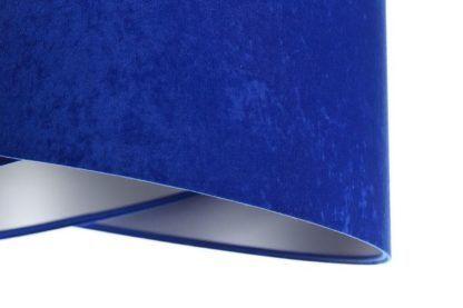 kobaltowa lampa wisząca welurowy abażur