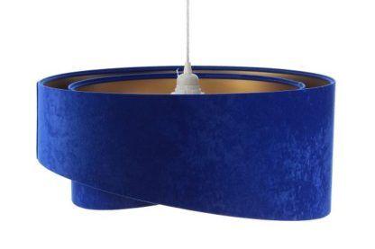 kobaltowa lampa wisząca welurowa