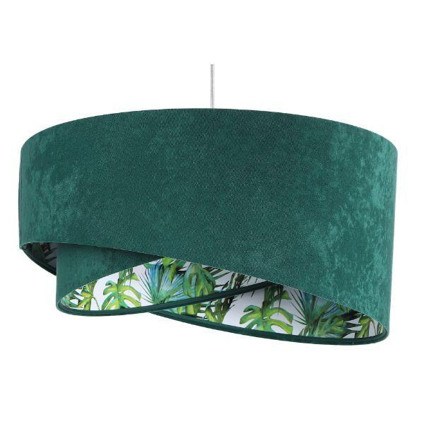Zielona lampa wisząca Galaxy - welurowa, egzotyczny wzór