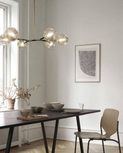 Lampa wisząca Cosmo - szklane klosze, koniak