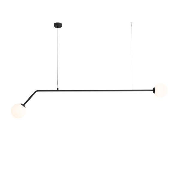 długa czarna lampa wisząca nad stół