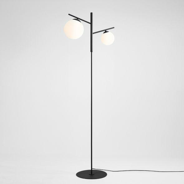 podwójna lampa podłogowa czarna