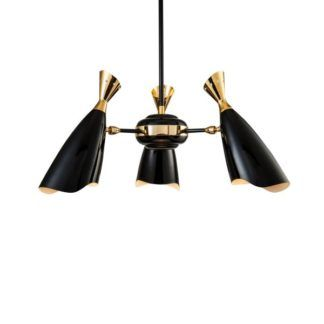 Elegancki żyrandol Simon - czarno-złoty, Modern classic