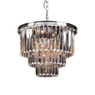 Lampa wisząca Delion - srebrna, kryształowa