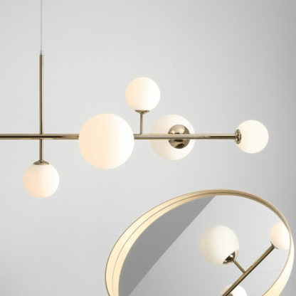 nowoczesna złota lampa wisząca - 6 kloszy