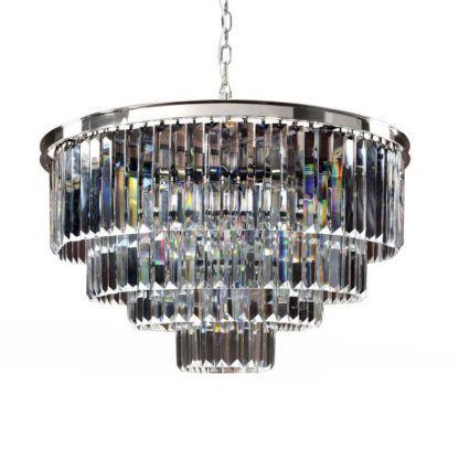 srebrna lampa wisząca kryształowa 10200407