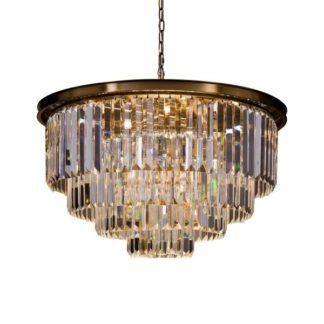 Duża lampa wisząca Delion - złota, kryształowa