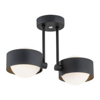 Czarna lampa sufitowa Massimo - szklane klosze, IP44