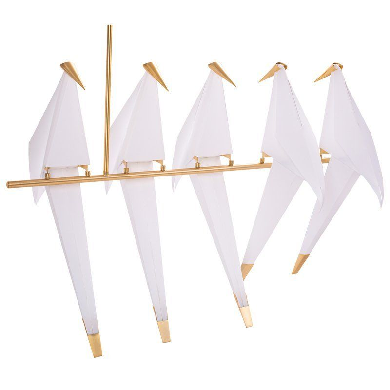 białe ptaki origami lampa wisząca