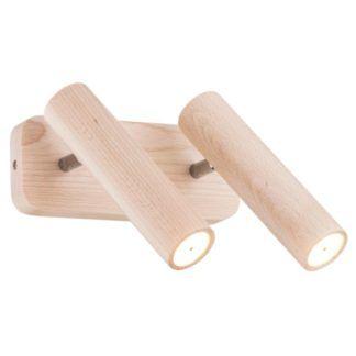 Nowoczesny kinkiet Adonis - drewniany, 2 reflektory