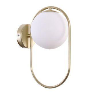 Złoty kinkiet Cordel - szklana kula, nowoczesny