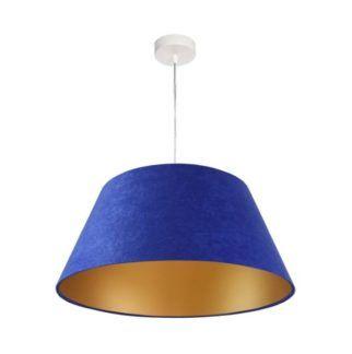 Welurowa lampa wisząca - kobaltowa, złoty środek