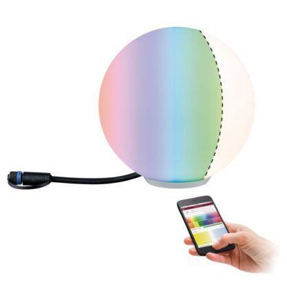 nowoczesna lampa ogrodowa kula kolory RGB