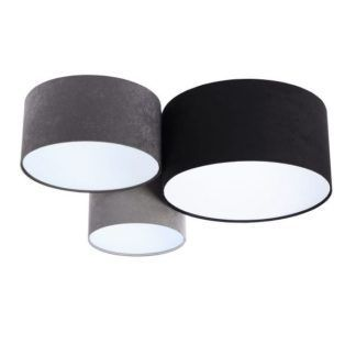 Welurowa lampa sufitowa - 3 klosze, szarość