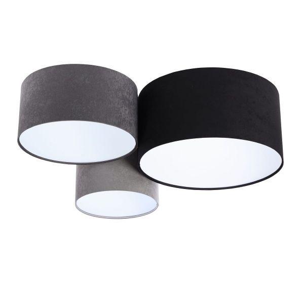 szara lampa sufitowa welurowa