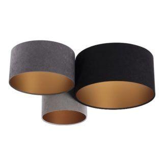 Welurowa lampa sufitowa - szara, złoty środek
