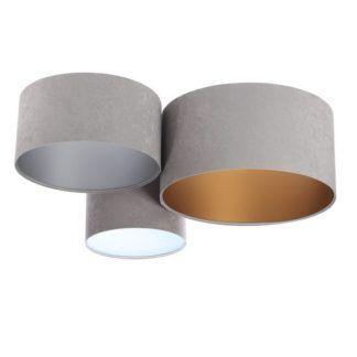 Jasnoszara lampa sufitowa - welurowe abażury