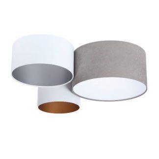 Nowoczesna lampa sufitowa - welurowa, 3 abażury