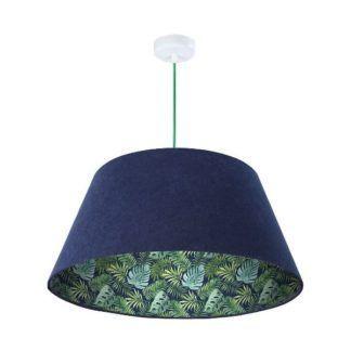 Granatowa lampa wisząca Jungle - welurowa