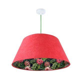 Lampa wisząca Jungle - welurowy abażur, czerwona