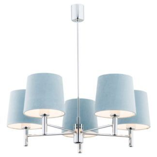 Srebrny żyrandol Bolzano - 5-ramienny, błękitny
