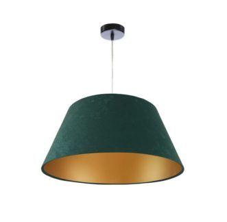 Welurowa lampa wisząca - ciemna zieleń, złoty środek