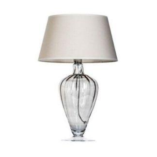 Szara lampa stołowa Bristol - beżowy abażur