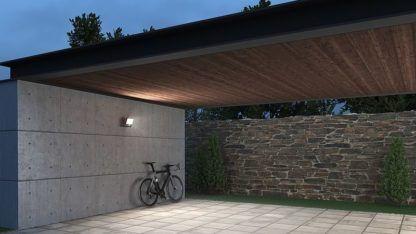 nowoczesny naświetlacz przed garaż