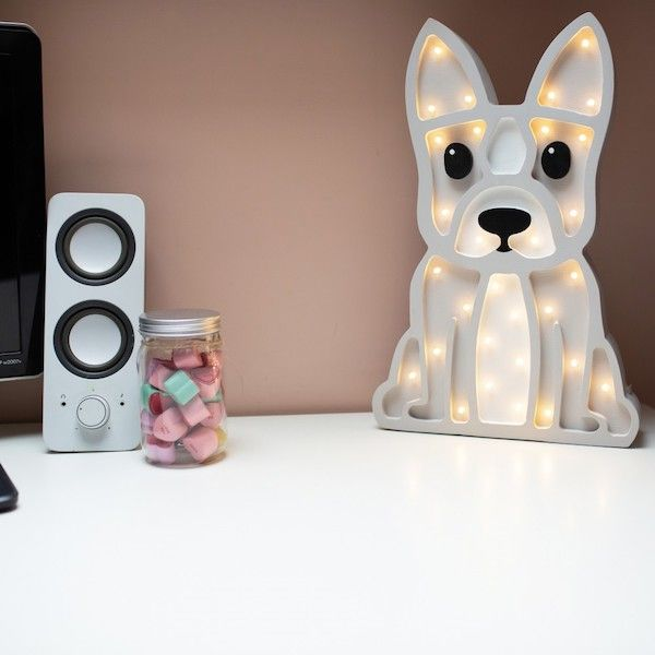 Lampa drewniana dla dziecka Buldog - LED szara