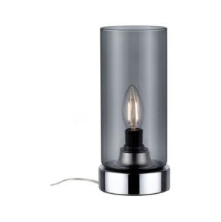 Szklana lampa stołowa Pinja - szara, dotykowy włącznik