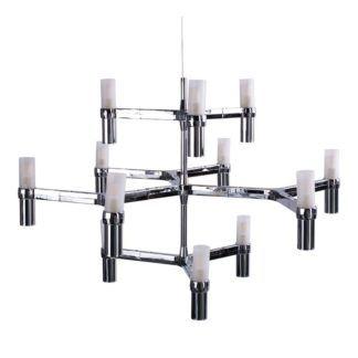 Designerski żyrandol Candles - srebrny, mleczne klosze