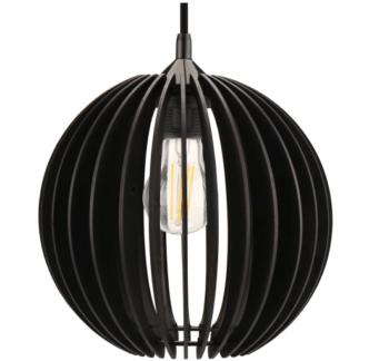 Czarna lampa wisząca Ribe ażurowa - boho scandi - kulisty klosz z drewna