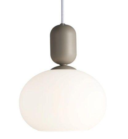 biała lampa wisząca na szarym zawieszeniu