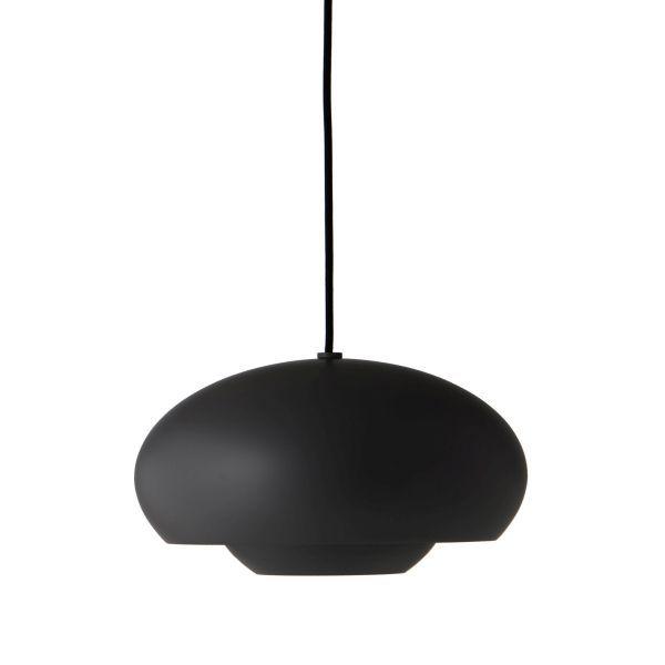 czarna lampa wisząca okrągła