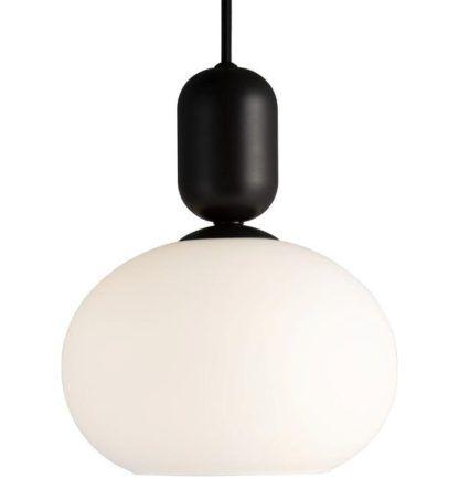 czarno-biała lampa wisząca ze szkła