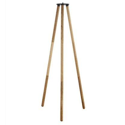 drewniany tripod do lampy podłogowej