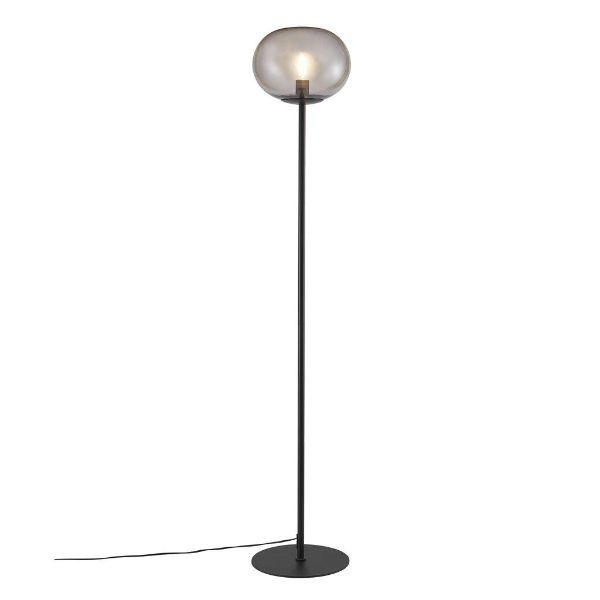 czarna lampa podłogowa szary klosz