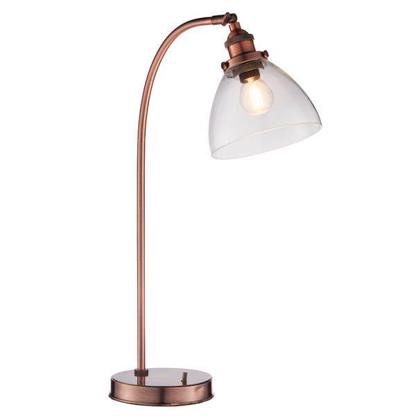 miedziana lampa stołowa szkany klosz