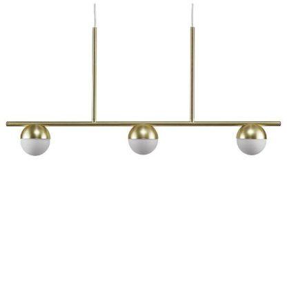 podłużna lampa wisząca nad stół złota