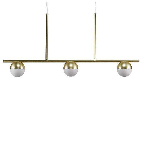 Elegancka lampa wisząca Contina - mleczne klosze, złota