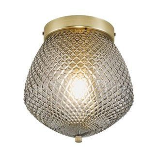 Szklana lampa sufitowa Orbiform - złota podstawa
